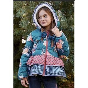 Matilda Jane Floral Snow Day Puffer Coat Size 12